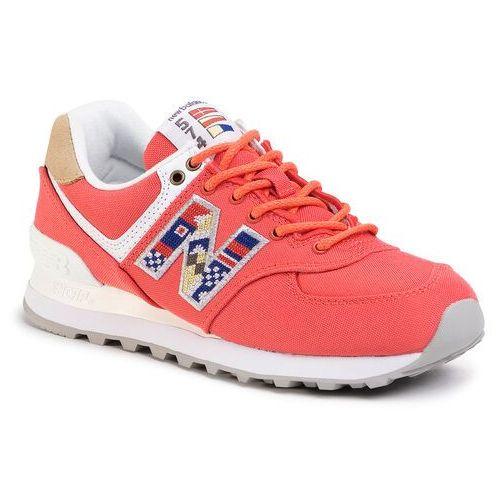 Sneakersy NEW BALANCE - WL574SOF Czerwony, kolor czerwony