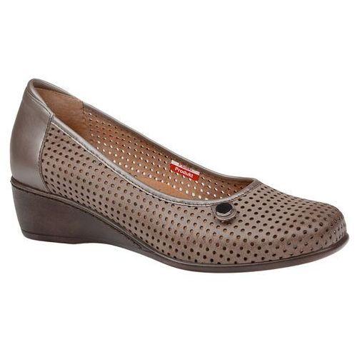 Półbuty AXEL Comfort 1516 Beżowe buty na haluksy na koturnie, kolor beżowy