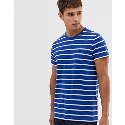 Tommy Hilfiger striped t-shirt stretch slim fit with icon flag logo in blue - Blue