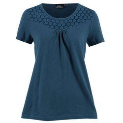Shirt z krótkim rękawem i koronkową wstawką ciemnoniebieski, Bonprix, 32-34