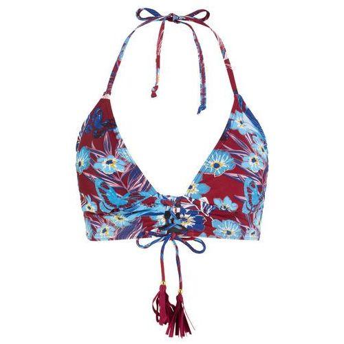 6c28715db9a563 Zobacz w sklepie Biustonosz bikini z trójkątnymi miseczkami bonprix bordowo- niebieski z nadrukiem, góra. Bonprix. Ramiączka wiązane dowolnie na szyi.