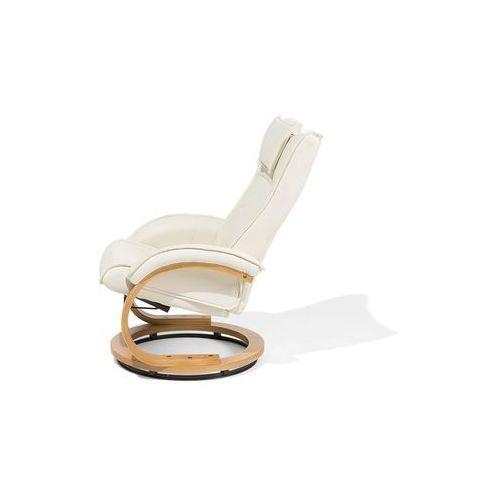 Fotel beżowy ekoskóra funkcja masażu z podnóżkiem MAJESTIC (4260586356281)