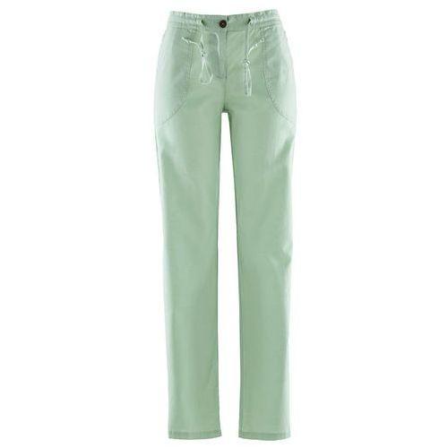 Spodnie lniane z szerokimi nogawkami jasny zielono-szary marki Bonprix