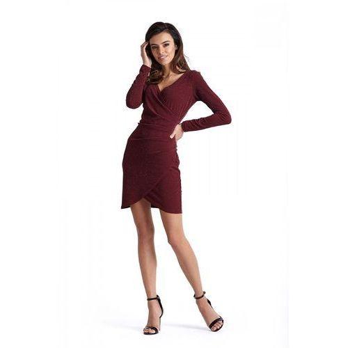 fcf3a8c34c Bordowa Kopertowa Sukienka Wyjściowa z Asymetrycznym Dołem