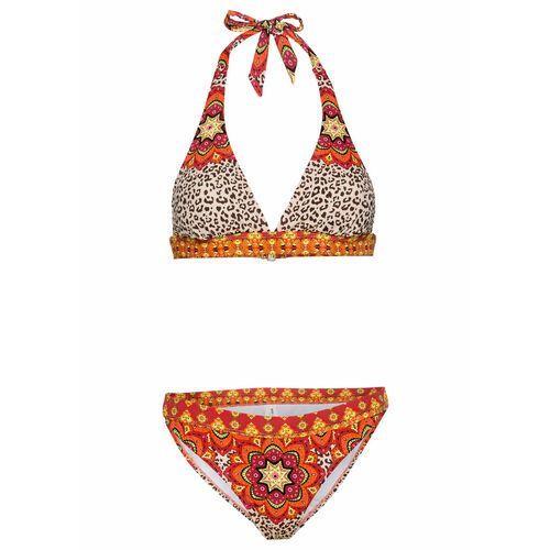 Bonprix Bikini z ramiączkami wiązanymi na szyi (2 części) czerwono-pomarańczowy - leo
