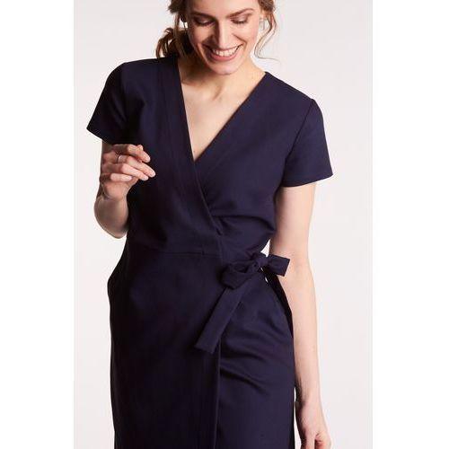 0af020587 Granatowa sukienka kopertowa z wiązaniem, kolor niebieski (Ennywear ...
