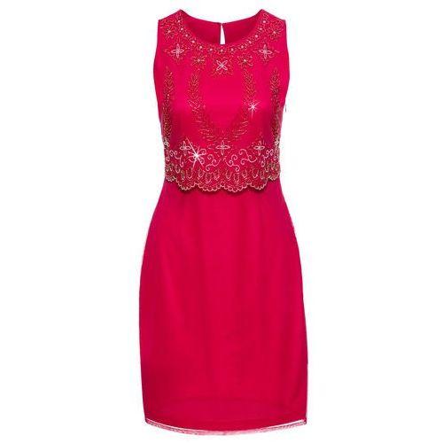 Bonprix Sukienka z haftem czerwony