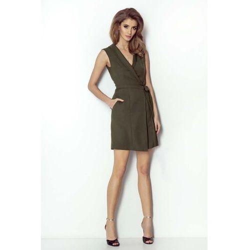 8e06d0af86 Khaki kopertowa sukienka z szalowym kołnierzem (Wow Point) - sklep ...