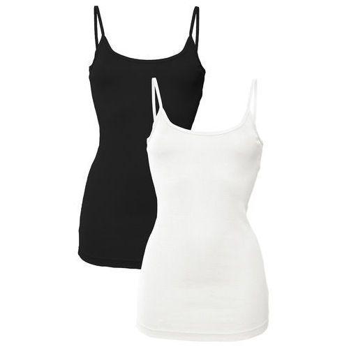 Top na cienkich ramiączkach (2 szt. w opak.) biały + czarny marki Bonprix