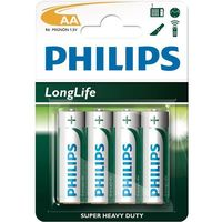 4 x bateria cynkowo-węglowa Philips LongLife R6 AA (blister) (8712581549466)