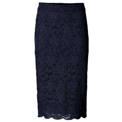 Spódniczka ołówkowa koronkowa ciemnoniebieski marki Bonprix