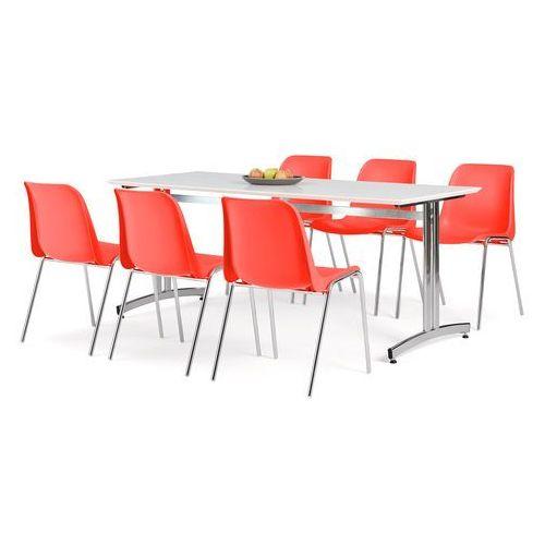 Zestaw mebli, stół 1800x700 mm, biały + 6 krzeseł czerwony/chrom marki Aj produkty