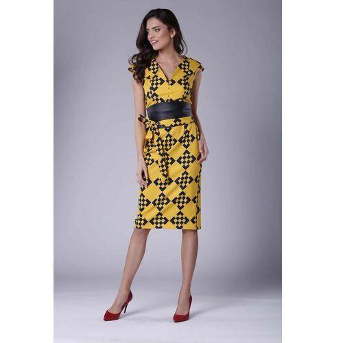 7b4e519d4b949a Zobacz w sklepie Elegancka ołówkowa sukienka midi z zaznaczoną talią,  Nommo, 34-44