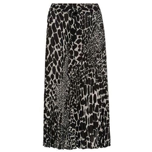 Spódnica plisowana z nadrukiem bonprix naturalny beżowy - czarny wzorzysty, plisowana