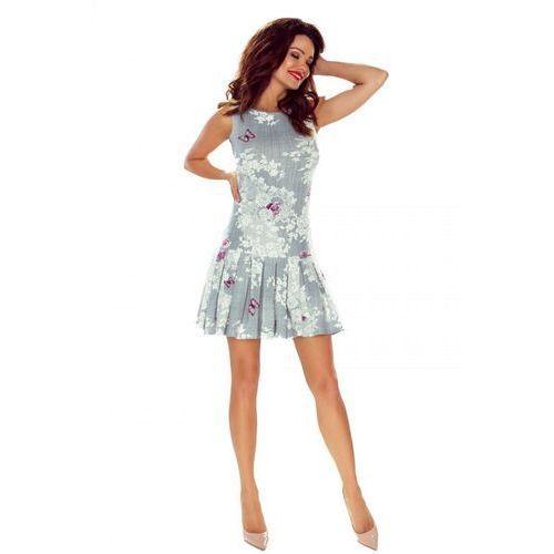 Trapezowa sukienka koktajlowa z plisowanym dołem, kolor szary