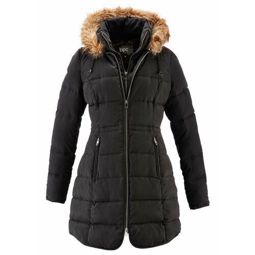 Krótki płaszcz z kapturem, na podszewce bonprix czarny, z