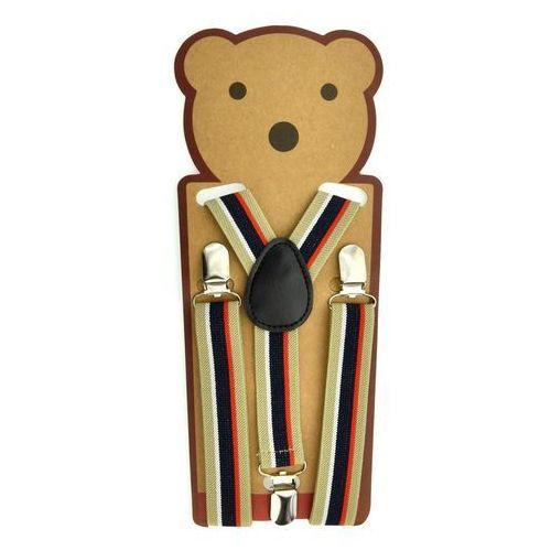 Beżowe szelki do spodni dla dzieci - beżowy   kolorowy marki Pozostali