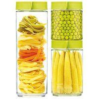 Zestaw trzech pojemników szklanych 400ml, 600ml, 1050ml - Glasslock (Kolor: Zielony) (8807246018651)