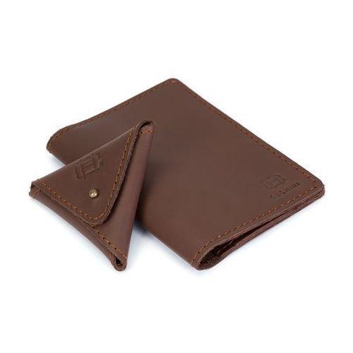 Cechini Skórzany cienki portfel + bilonówka