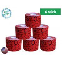 Taśma do kinesiotapingu TheraBand XactStretch 5cm op. 6 rolek 5m 12931 czerwono-czarna, TB-12931x6(8)