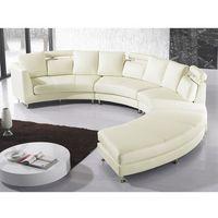 Sofa skórzana kremowa, półokrągła - ROTUNDE, kolor beżowy