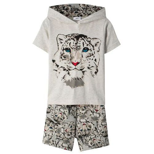Shirt z kapturem + spódnico-spodnie (2 części) naturalny melanż marki Bonprix