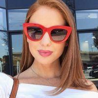 Okulary damskie przeciwsłoneczne kocie oko czerwone