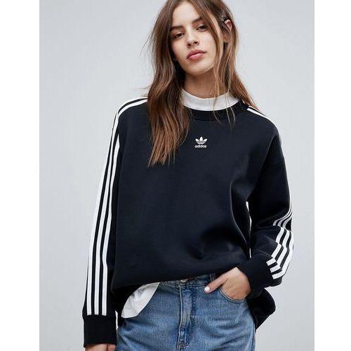Adidas originals adicolor three stripe sweatshirt in black - black