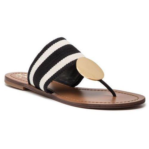 ecce4d15cde26 Japonki TORY BURCH - Patos Disk Sandal 55724 Black And White Stripe/Royal  Tan 972