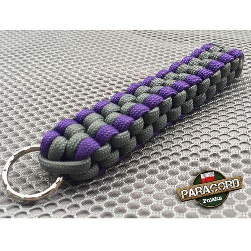 """Brelok survivalowy z Paracordu 550 o splocie """"Royal Box Knot"""", kolor: """"Gun metal - Purple"""""""
