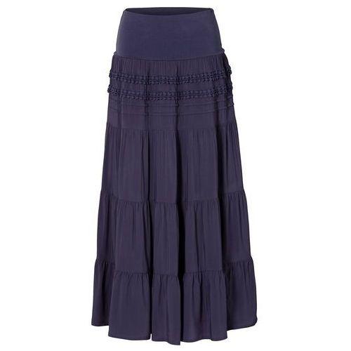 Długa spódnica bonprix ciemnoniebieski, kolor niebieski