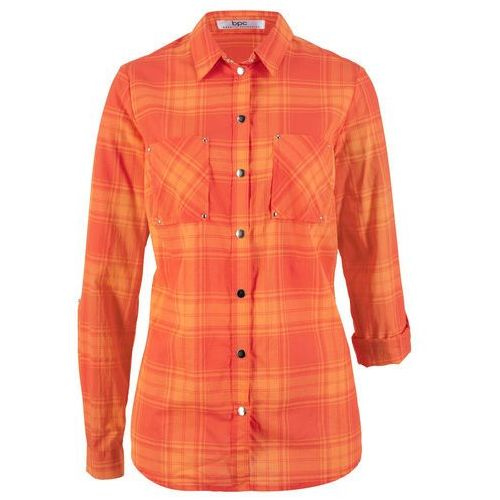 a61f03df156c26 Zobacz w sklepie Bonprix Bluzka w kratę nektarynka - mandarynkowo-czerwony  w kratę
