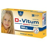 D-Vitum, witamina D 1000 j.m., 36 kapsułek twist off - Długi termin ważności! DARMOWA DOSTAWA od 39,99zł do 2kg! (5904960012781)