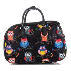 91745506f8018 Or&Mi. Średnia torba podróżna kuferek wzór w sowy multikolor - czarna ( kolory) ...