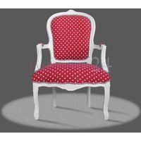 Barokowy, dekoracyjny fotel z serii Luisa, obicie tkanina czerwona w białe kropki, biała rama.