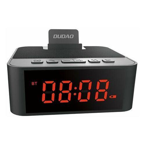 Dudao bezprzewodowy głośnik z aux zegarek, radio fm i budzik + czytnik kart micro sd czarny (y5 black) - czarny