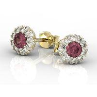 Kolczyki z żółtego i białego złota apk-42b z rubinami i diamentami. - żółte i białe \ rubin marki Węc - twój jubiler
