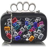 Czarna torebka wizytowa szkatułka z kolorowymi kryształkami - czarny || wielobarwny