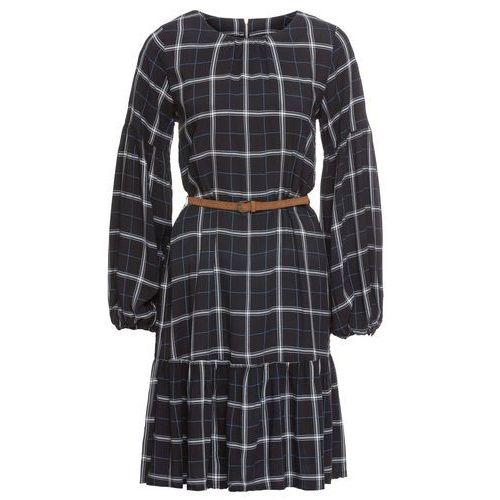 Sukienka w kratę z falbaną czarno-biało-niebieski w kratę Bonprix