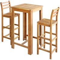 vidaXL Stolik barowy i krzesła, 3 elementy, drewno akacjowe (8718476012282)