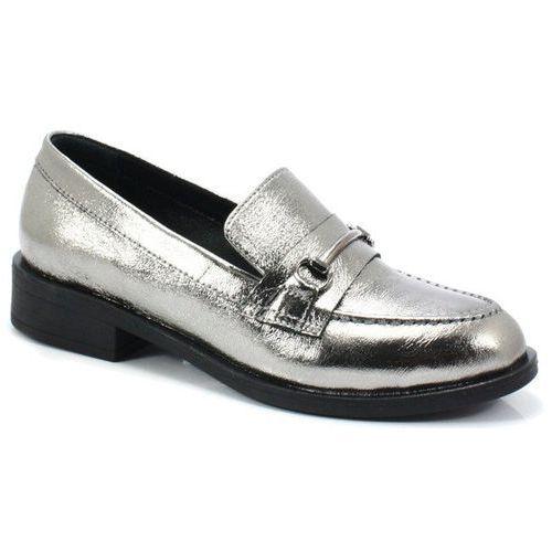 039510919k srebrne - klasyczne mokasyny, Venezia