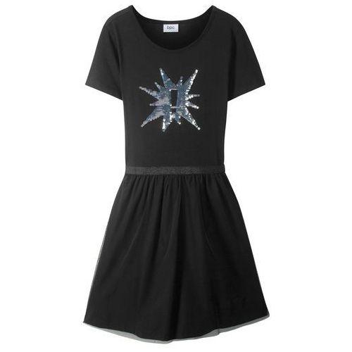 1591440656 Zobacz ofertę Sukienka dziewczęca z długim rękawem i odwracanymi cekinami  bonprix czarny