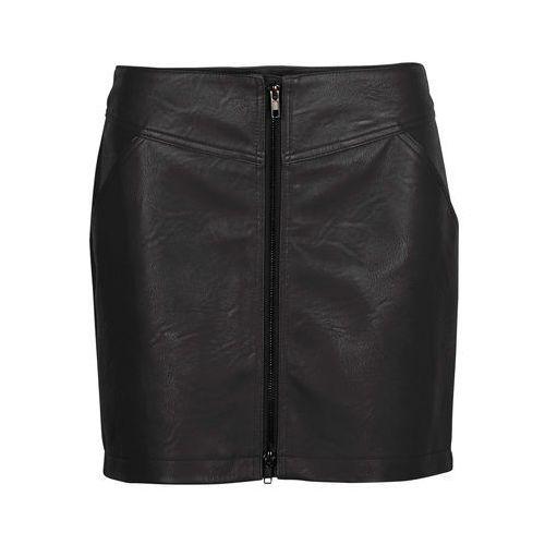Bonprix Spódnica ze sztucznej skóry z zamkiem czarny