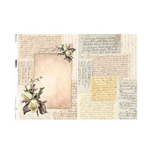 Papier do decoupage A3 ITD Soft 035 list z różą x1
