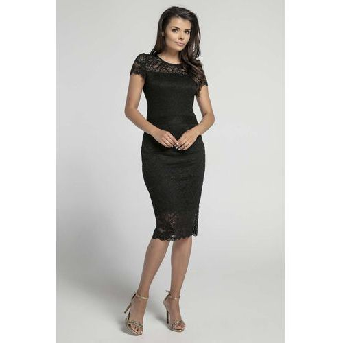 d592ce6e5f Czarna koronkowa ołówkowa sukienka midi z dekoltem v na plecach marki Nommo