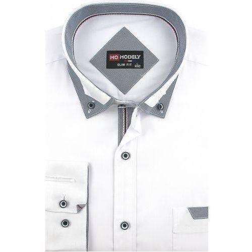 5b1777fe Koszula Męska gładka biała SLIM FIT na długi rękaw D907, D907 (Modely)