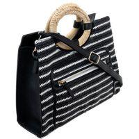 Torebka damska shopper w paski monnari 3020 czarna