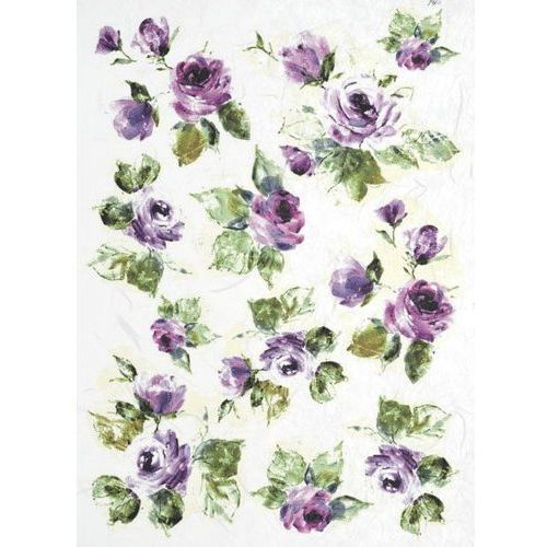 Papier ryżowy ITD A4 095 róże różowo-fioletowe x1