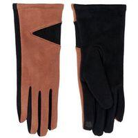 Rękawiczki damskie granatowe zamszowe dwukolorowe dotykowe 23