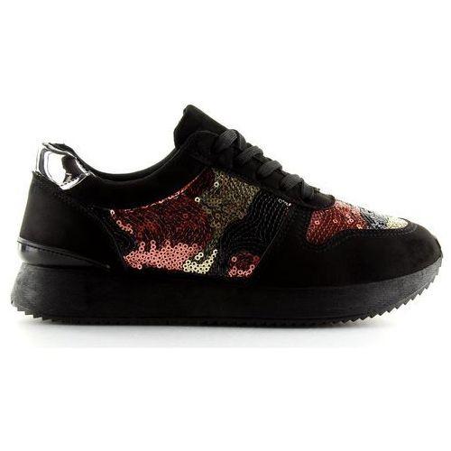 Buty sportowe z cekinami czarne lh10p black (Buty Obuwie Damskie)